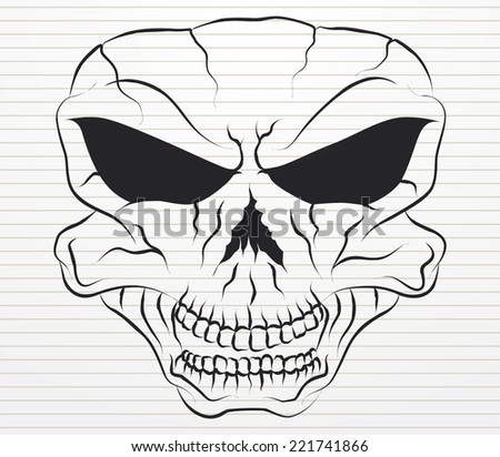 sketching skull on paper  - stock vector