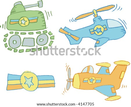 Sketchy Army Set Vector Illustration