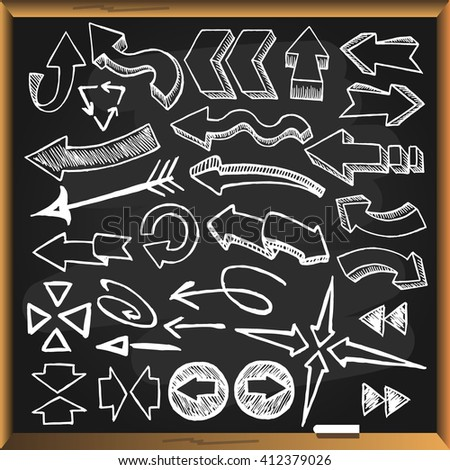 Sketchy arrows on chalkboard background. Vector illustration. - stock vector