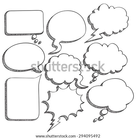 sketchy comic speech bubble - stock vector