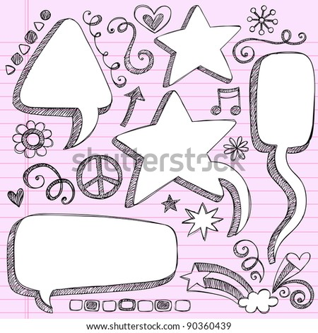 Sketchy 3-D Shaped Comic Book Style Speech Bubbles- Hand Drawn Notebook Doodles on Pink Lined Paper Background- Vector Illustration - stock vector
