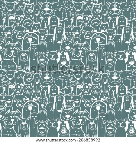 Sketchy dogs and cats seamless pattern - stock vector