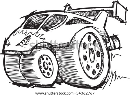 Sketchy Doodle Hot-Rod Race-Car Vector Illustration - stock vector