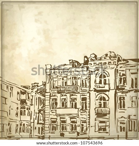 Sketchy drawing of historical building in grunge background. My own artwork. - stock vector