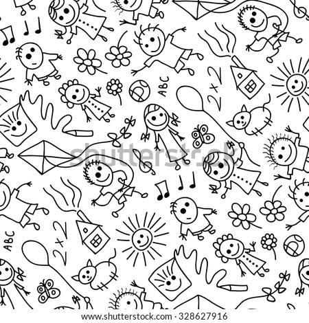 Sketchy elements seamless pattern. - stock vector