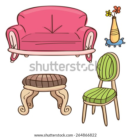 sketchy furniture isolated on white background - stock vector
