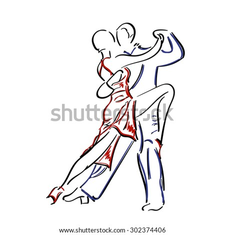 Sketchy, hand-drawn couple dancing tango isolated on white background. Tango dancers vector illustration. - stock vector