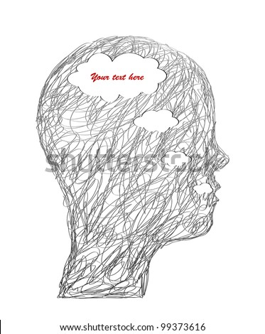 Sketchy illustration head. Vector - stock vector