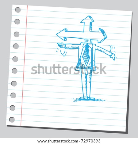 Sketchy illustration of a arrow headed man - stock vector