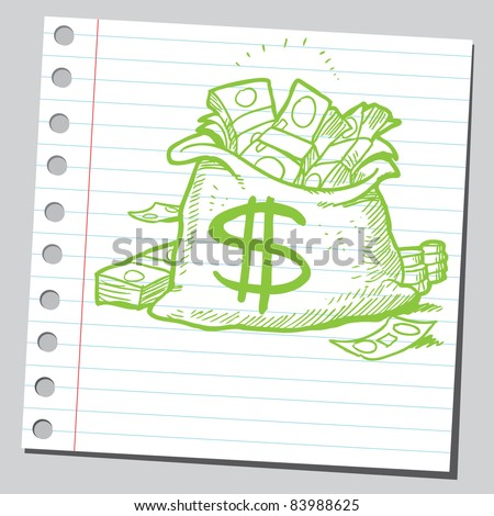 Sketchy illustration of a bag full of money - stock vector