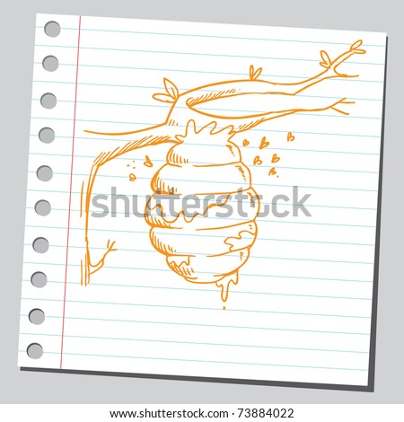 Sketchy illustration of a beehive on a tree branch - stock vector