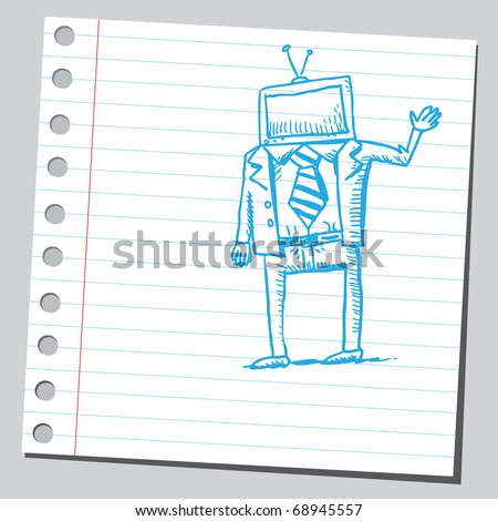 Sketchy illustration of a bizarre computer man - stock vector