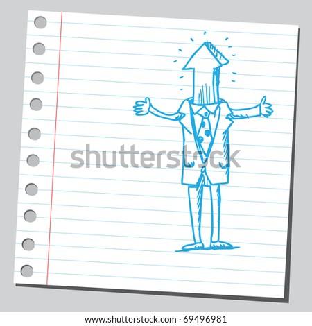 Sketchy illustration of a bizarre man with arrow head - stock vector