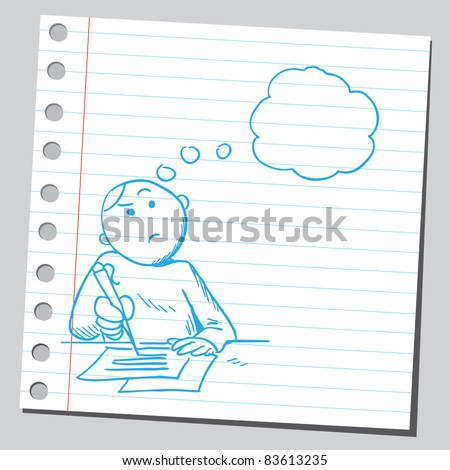 Sketchy illustration of a boy doing homework and thinking - stock vector