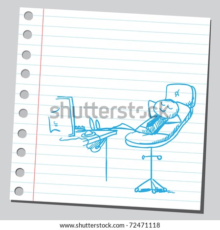 Sketchy illustration of a businessman's rest - stock vector