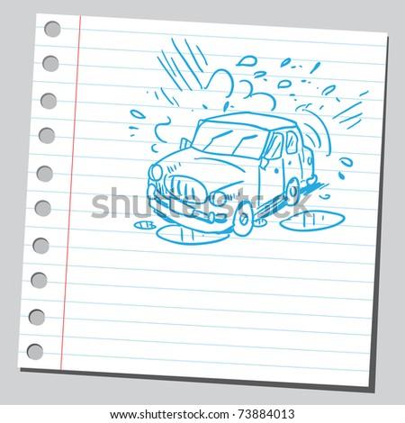 Sketchy illustration of a car wash - stock vector