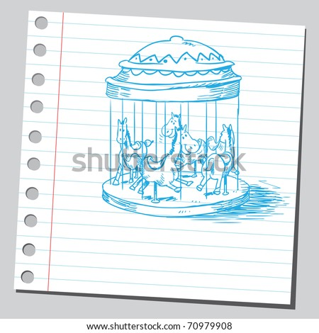 Sketchy illustration of a carousel - stock vector