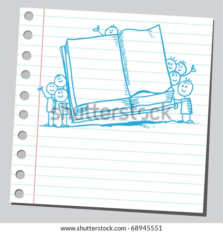 Sketchy illustration of a children holding an open book - stock vector