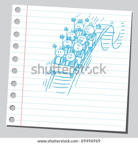 Sketchy illustration of a children in rollercoaster ride - stock vector