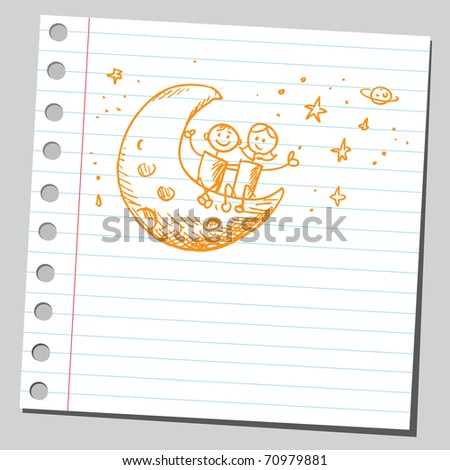 Sketchy illustration of a children siting on the Moon - stock vector