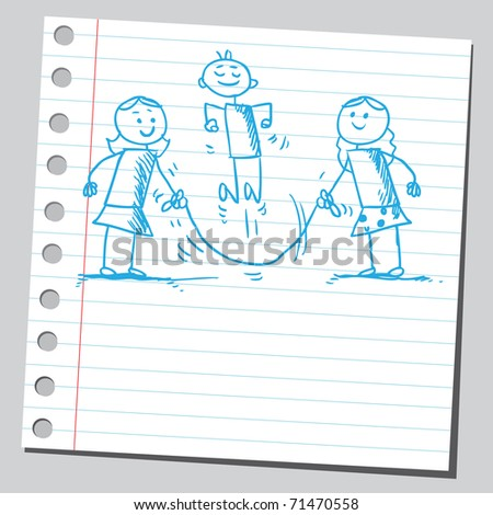 Sketchy illustration of a children skipping rope - stock vector