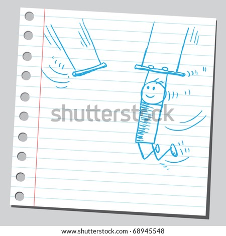Sketchy illustration of a circus acrobat - stock vector