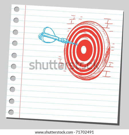 Sketchy illustration of a dart in dartboard - stock vector