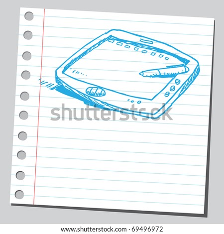 Sketchy illustration of a drawing tablet - stock vector