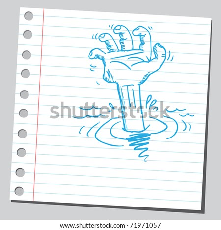 Sketchy illustration of a drowning hand - stock vector