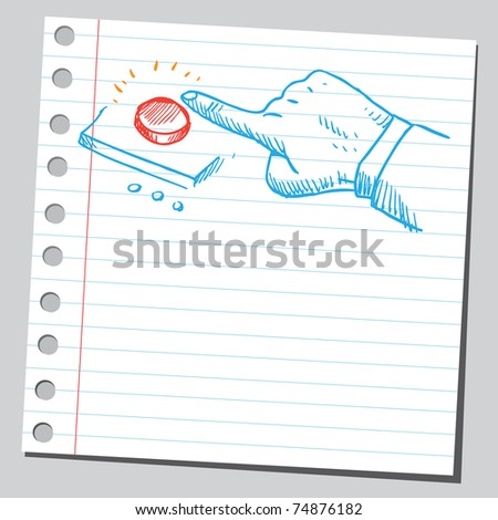 Sketchy illustration of a finger pushing red button - stock vector