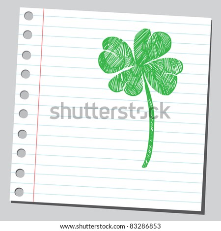 Sketchy illustration of a four leaf clover - stock vector
