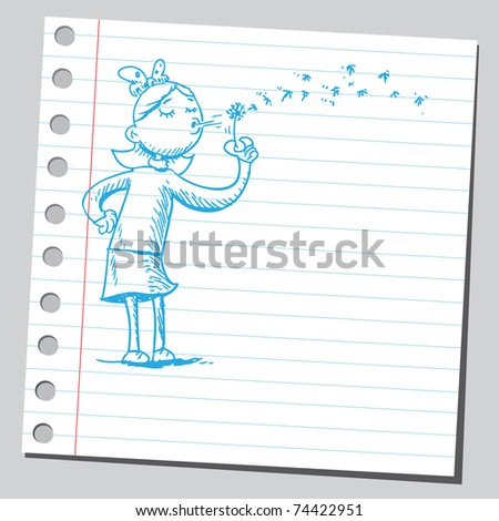 Sketchy illustration of a girl holding dandelion - stock vector