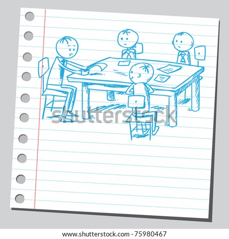 Sketchy illustration of a group of businessmen - stock vector