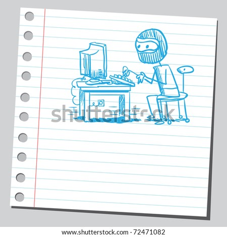 Sketchy illustration of a hacker - stock vector