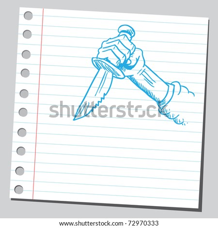 Sketchy illustration of a hand holding knife - stock vector
