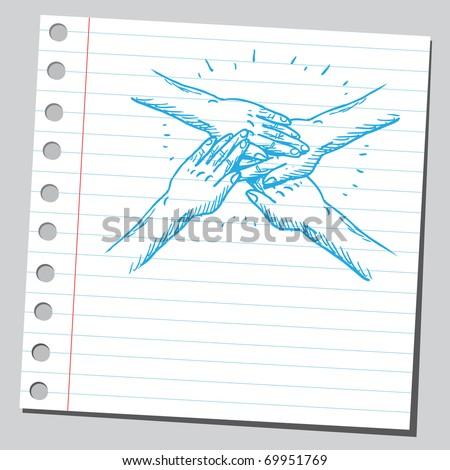 Sketchy illustration of a hands teamwork symbol - stock vector