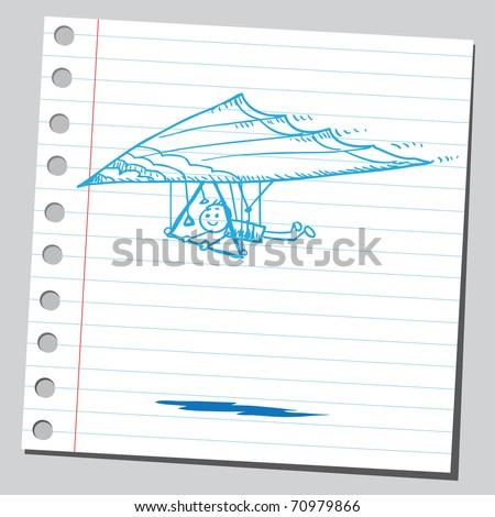Sketchy illustration of a hang glider - stock vector