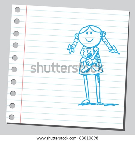 Sketchy illustration of a happy girl holding teddy bear - stock vector