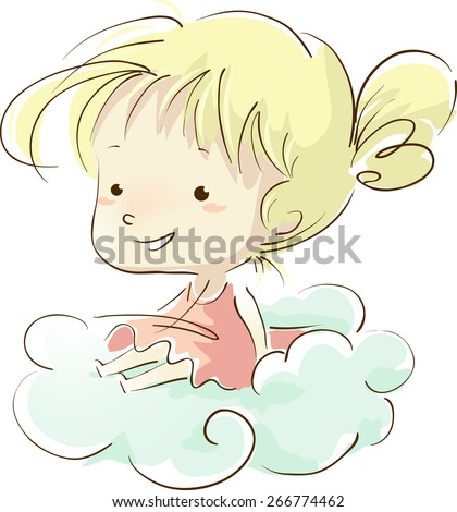 Sketchy Illustration of a Little Girl Sitting on a Cloud