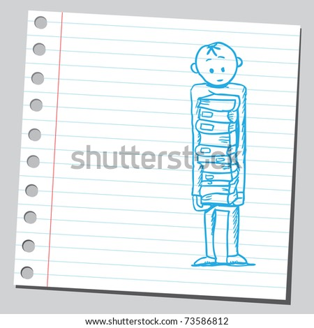 Sketchy illustration of a man holding books - stock vector