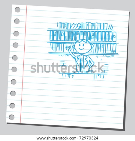 Sketchy illustration of a man in a bookstore - stock vector