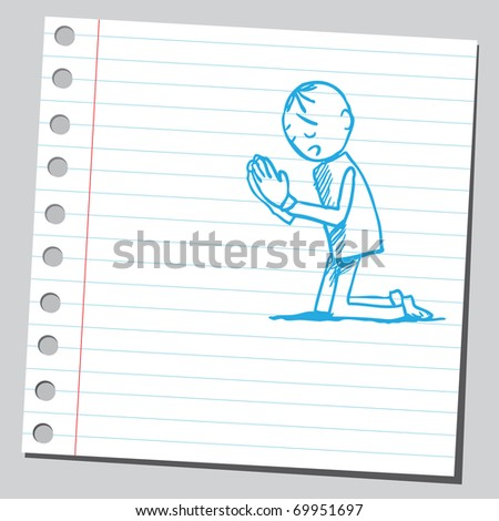 Sketchy illustration of a man praying - stock vector