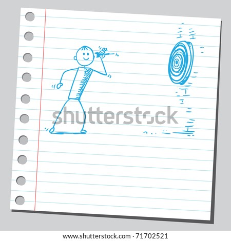 Sketchy illustration of a man throw dart - stock vector