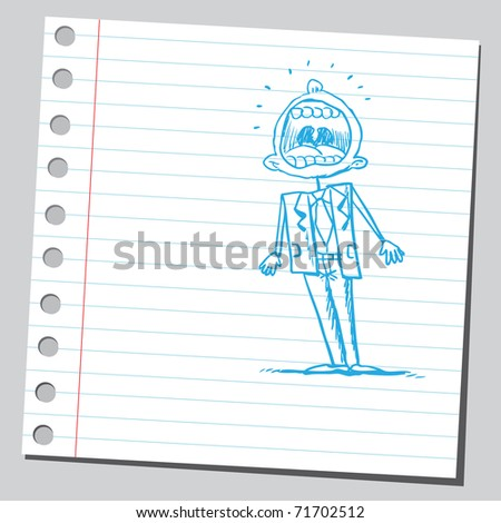 Sketchy illustration of a man with open mouth - stock vector