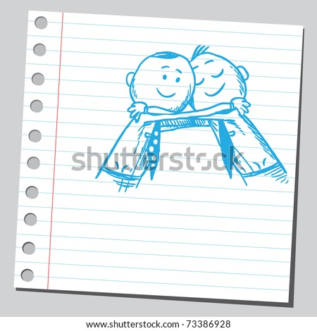 Sketchy illustration of a men hugging - stock vector