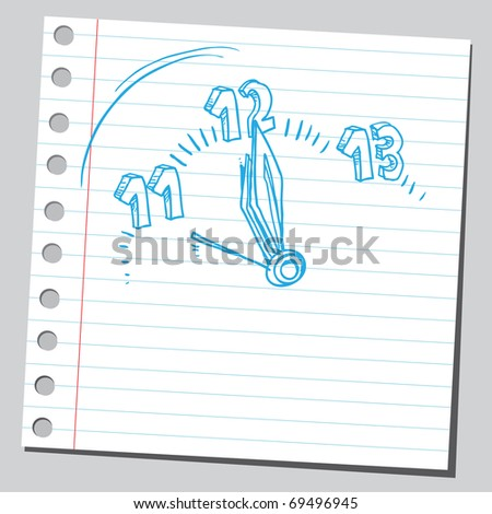 Sketchy illustration of a midnight time - stock vector