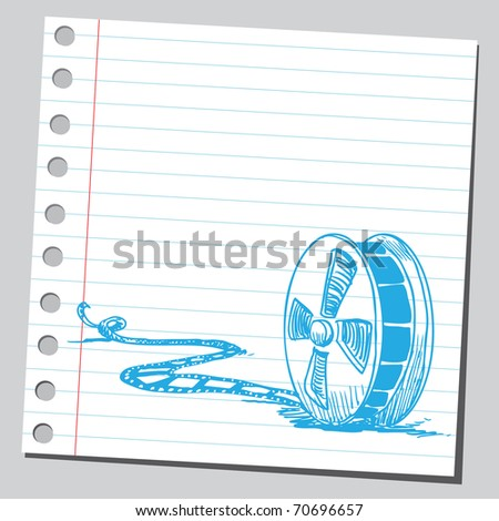 Sketchy illustration of a movie tape - stock vector
