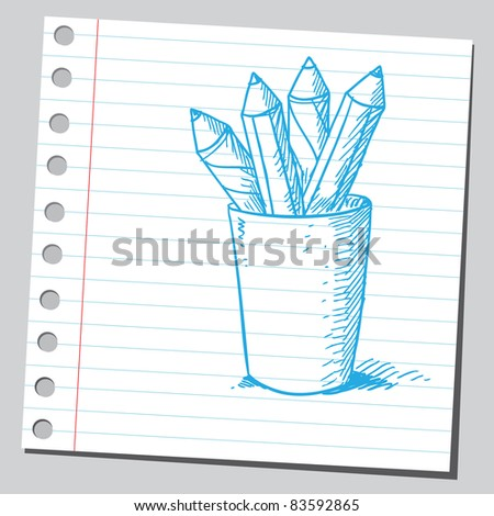 Sketchy illustration of a pencils in glass - stock vector