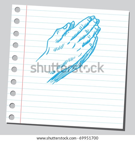 Sketchy illustration of a praying hands - stock vector