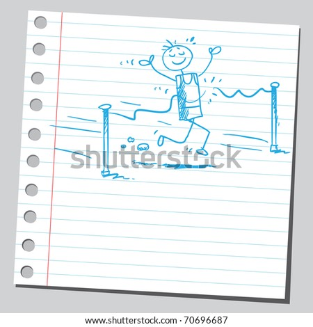Sketchy illustration of a race winner - stock vector